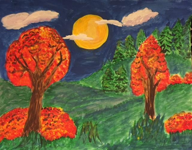 kids art fall landscape art class