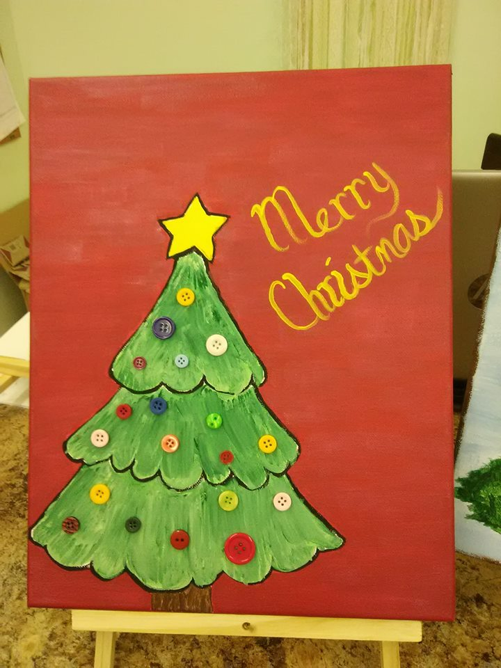 Christmas Acrylic Paint Class Kids And Adults