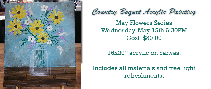 country bouquet acrylic paint class