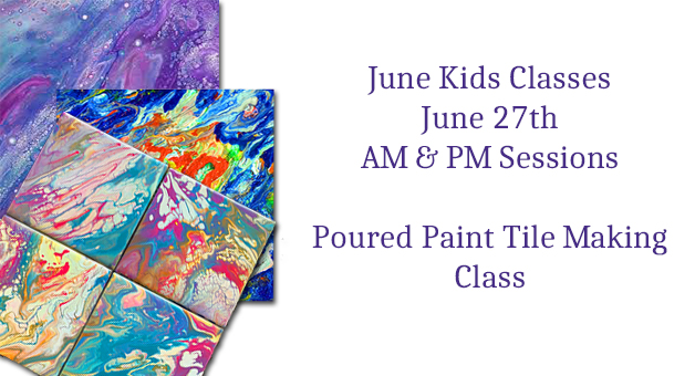 kids summer art class poured paint tiles