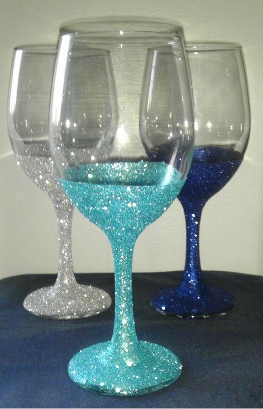 Glitter Wine Glass Highland Arts Crafts